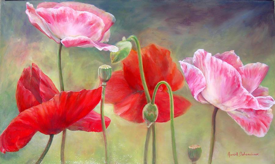 Floral Painting - Coquelicots by Muriel Dolemieux