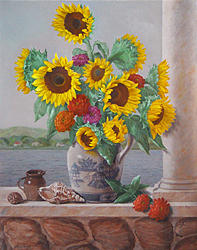 Sunflower Painting - Coquillages Et Tournesols by Lillian Forziat