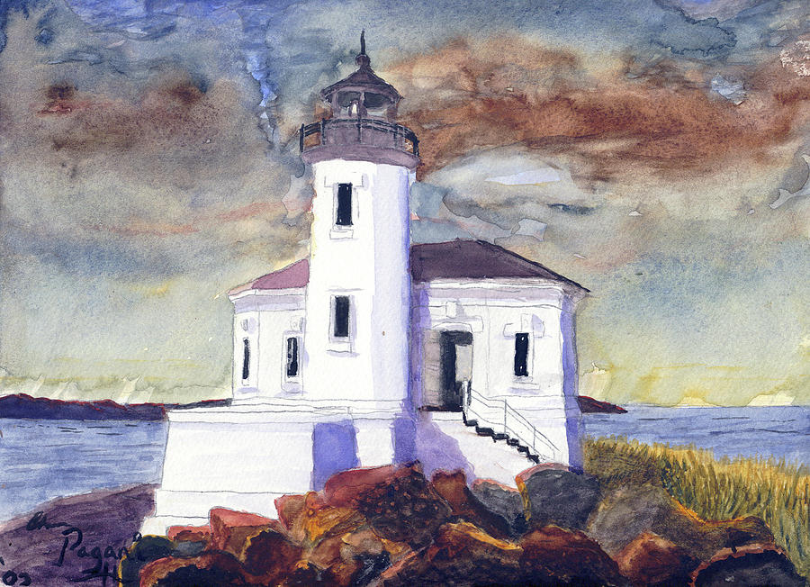 Coquille Lighthouse Watercolor by Chriss Pagani