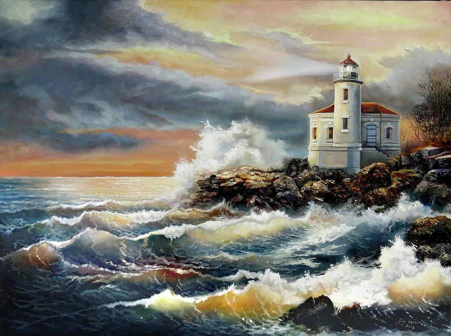 Coquille River Lighthouse At Hightide Painting