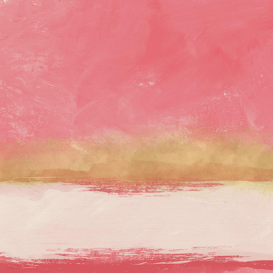 Abstract Mixed Media - Coral And Gold Abstract 1- Art By Linda Woods by Linda Woods