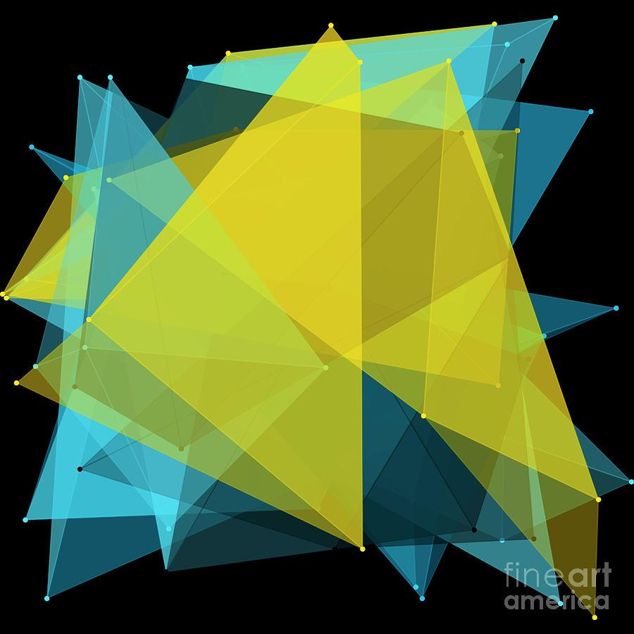 Abstract Digital Art - Coral Reef Polygon Pattern by Frank Ramspott