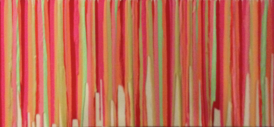 Abstract Painting - Coral Stripe  by Margalit Romano
