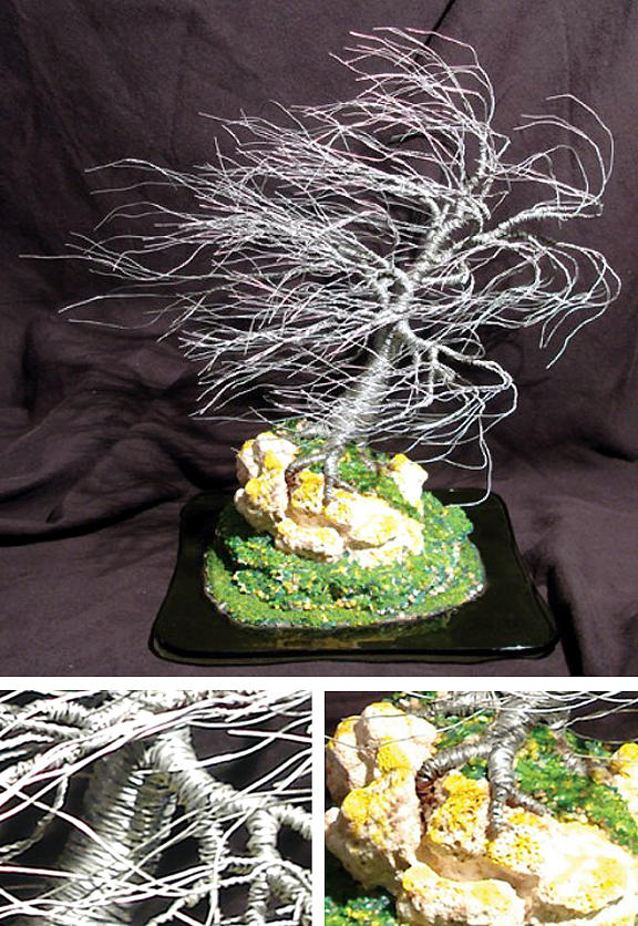 Sculpture Sculpture - Coral Wind Swept Wire Tree Sculpture by Sal Villano