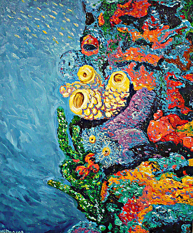 Coral Painting - Coral With Cucumber by Ericka Herazo