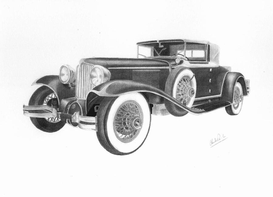 Car Drawings Drawing - 1929 Cord by Claude Prud homme