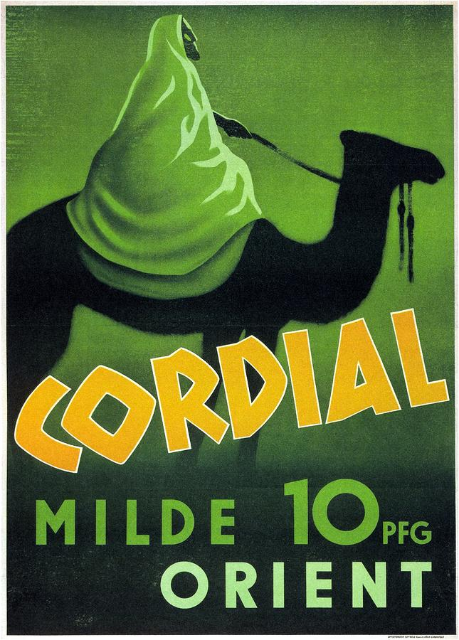 Cordial Milde Orient - Bedouin On A Camel - Retro Travel Poster - Vintage Poster Mixed Media