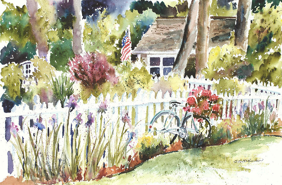 Vintage Bicycle Against Cottage And Picket Fence. Iris Painting - Corey Bike by Sandra Strohschein