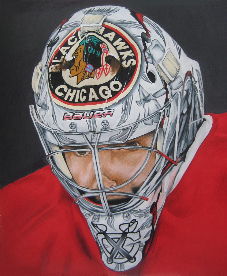 Goalie Drawing - Corey Crawford by Brian Schuster