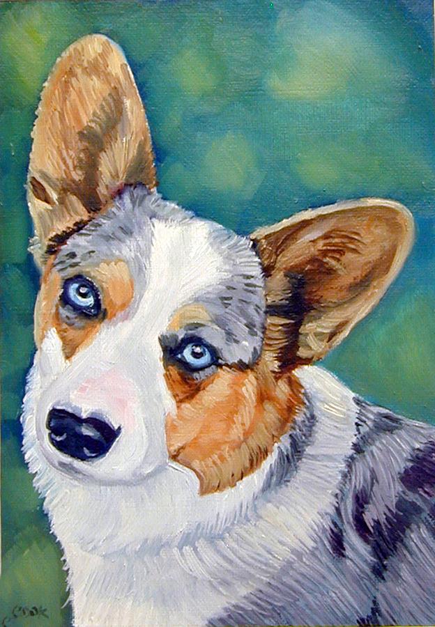 Pembroke Welsh Corgi Painting - Corgi Blue Eyes by Lyn Cook