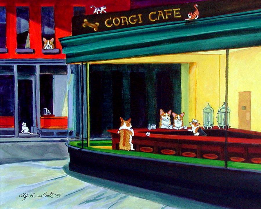 Pembroke Welsh Corgi Painting - Corgi Cafe After Hopper by Lyn Cook