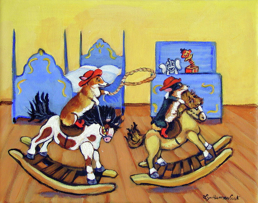 Pembroke Welsh Corgi Painting - Pembroke Welsh Corgi Rainy Day Cowboys by Lyn Cook