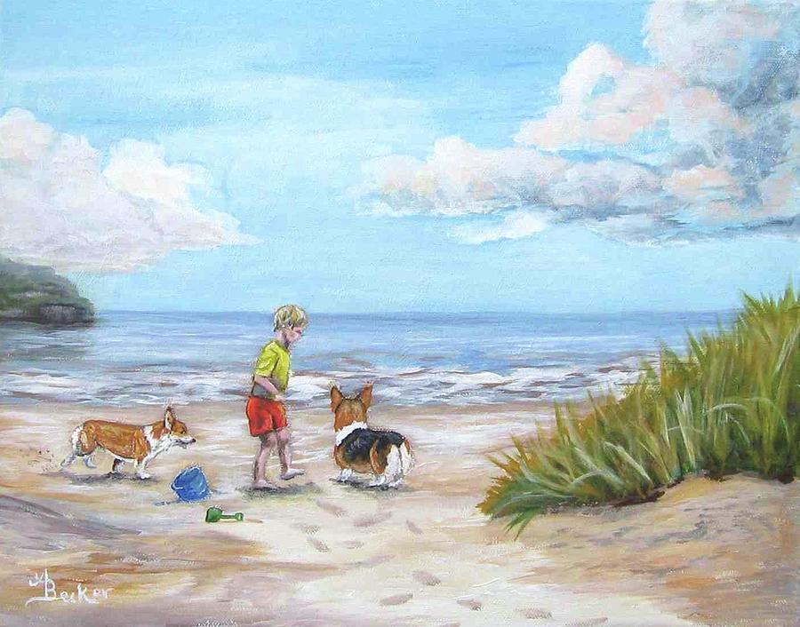 Dog Painting - Corgi Seaside Play by Ann Becker