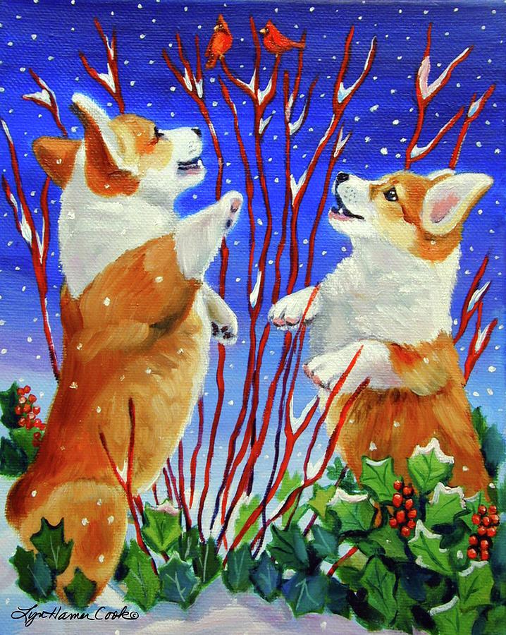 Pembroke Welsh Corgi Painting - Corgi Snow Puppies by Lyn Cook
