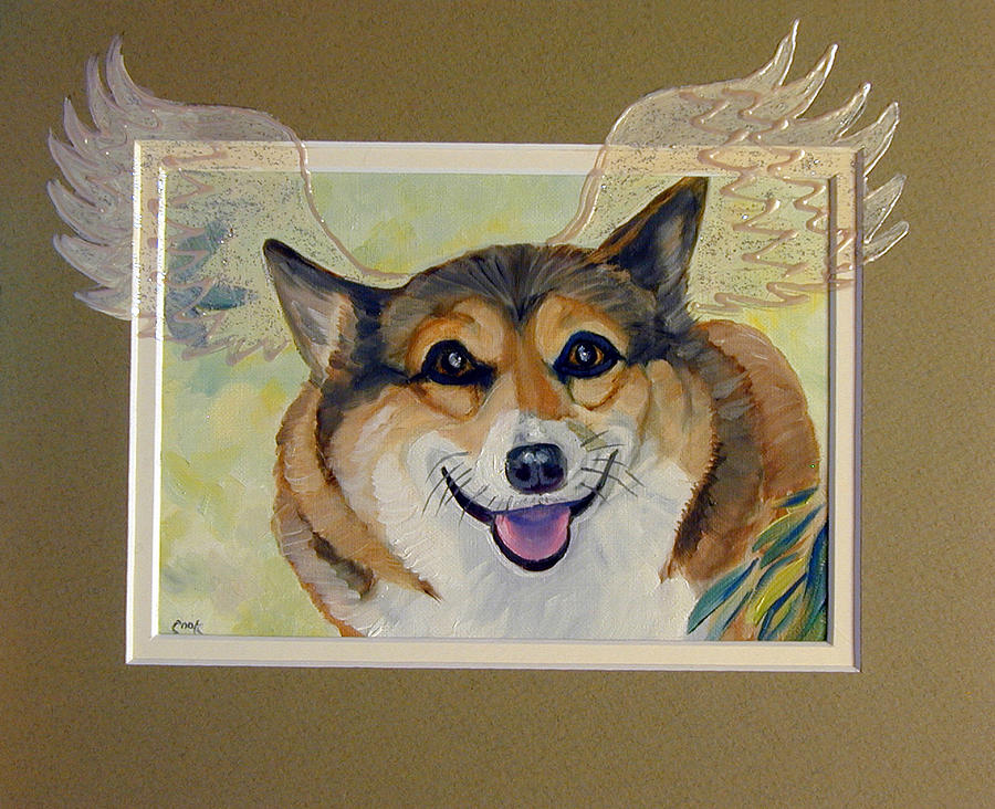 Pembroke Welsh Corgi Painting - Corgi Wings of an Angel by Lyn Cook