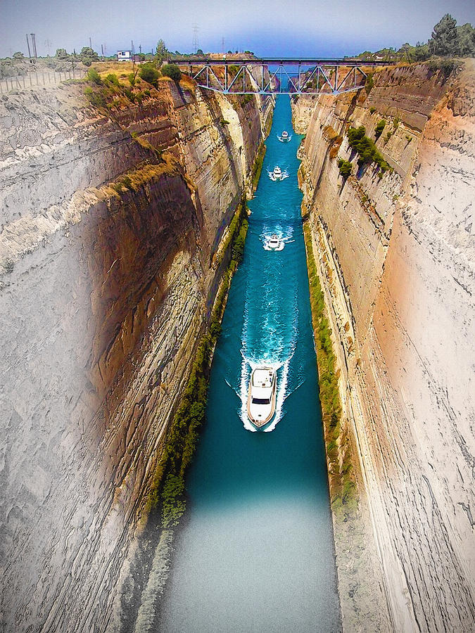 Art & Collectibles Digital Art - Corinth Canal  by Don Kuing
