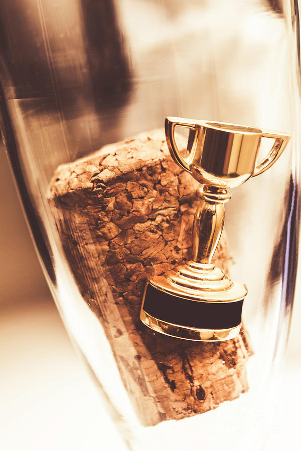 Trophy Photograph - Cork And Trophy Floating In Champagne Flute by Jorgo Photography - Wall Art Gallery