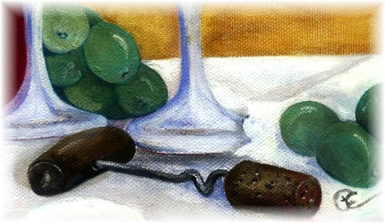 Wine Painting - Cork Screw by Penny Everhart