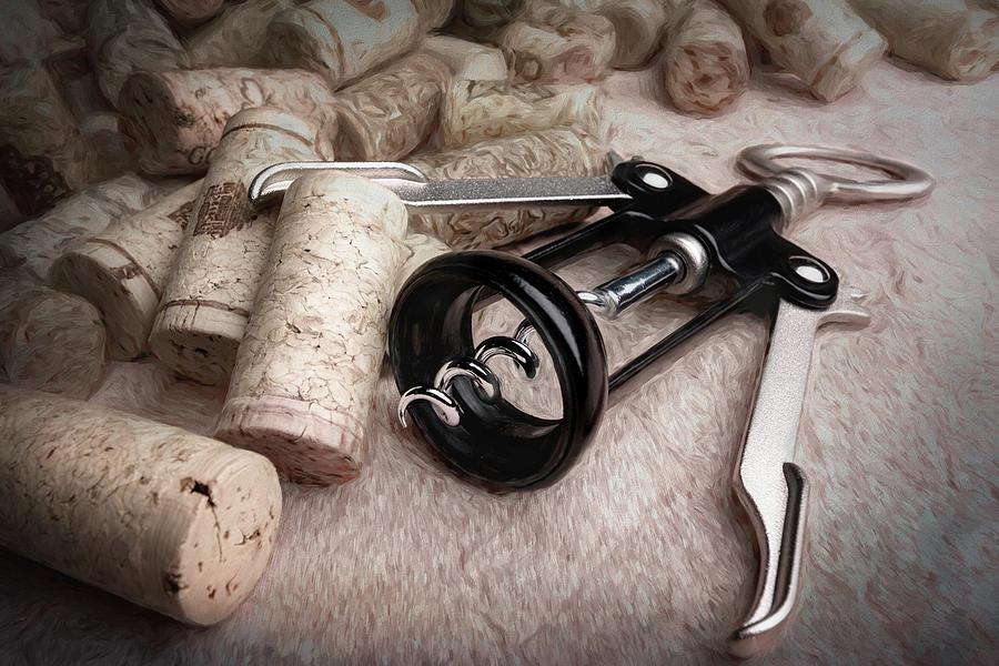 Alcohol Photograph - Corkscrew Wine Corks Still Life by Tom Mc Nemar