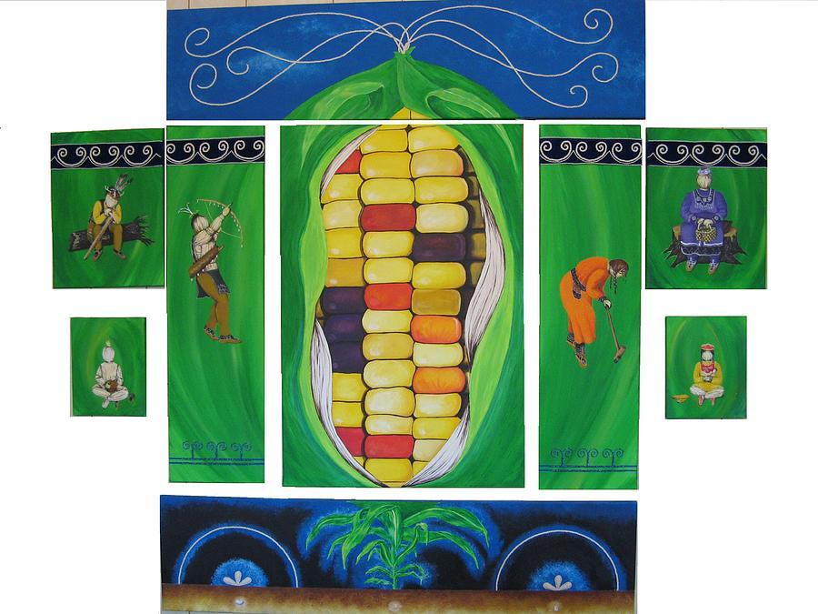 Acrylic Painting - Corn Husk Family by Towanna Miller