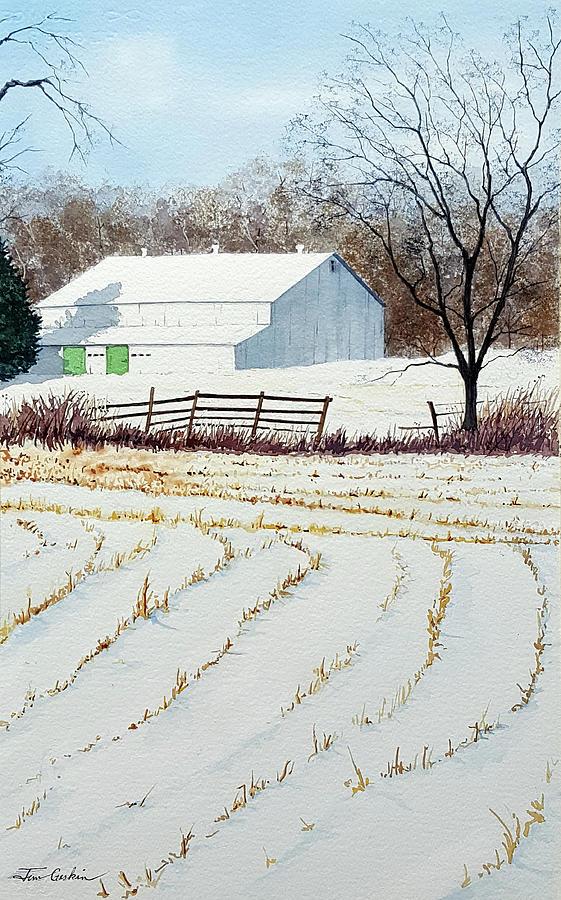 Corn Rows and Barn by Jim Gerkin