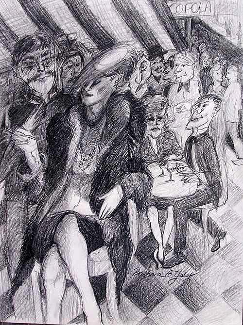 Figure Drawing Drawing - Corner Cafe Woman by Barbara Yalof