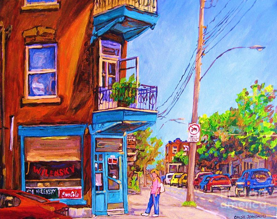 Montreal Painting - Corner Deli Lunch Counter by Carole Spandau