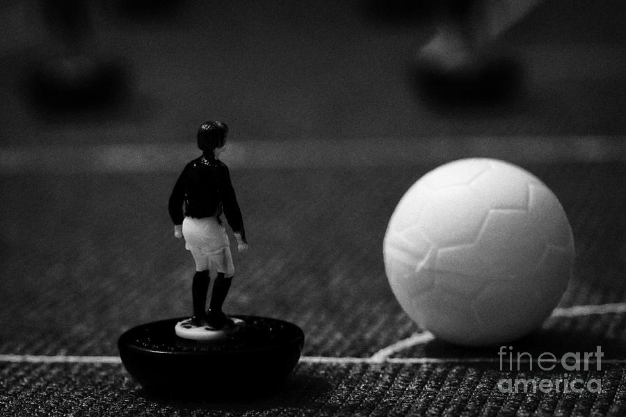 Table Photograph - Corner Kick Football Soccer Scene Reinacted With Subbuteo Table Top Football Players Game by Joe Fox