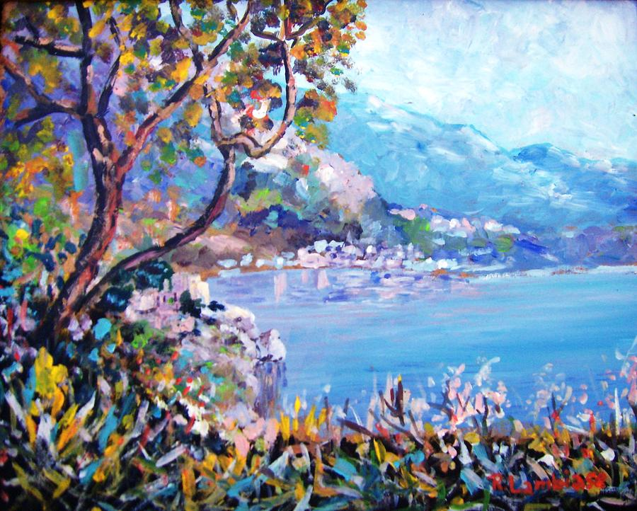 Seascape Painting - Corner On The Amalfi Coast by Rolando Lambiase