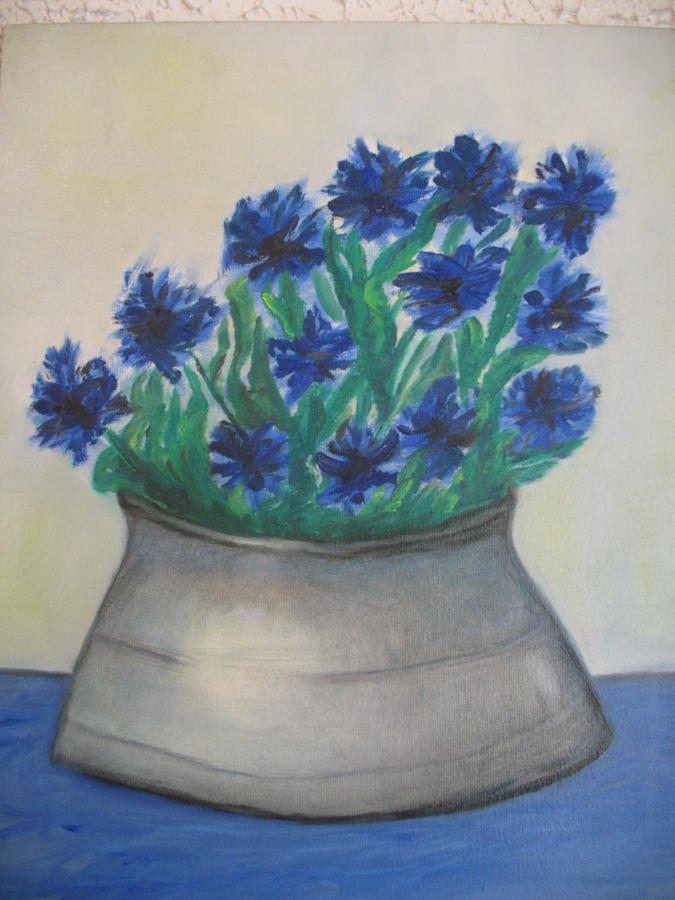 American Painting - Cornflower by Maria  Kolucheva