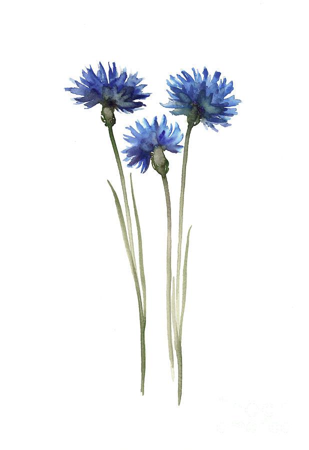 Cornflowers Art Print Blue Green Wall Decor, Abstract ...