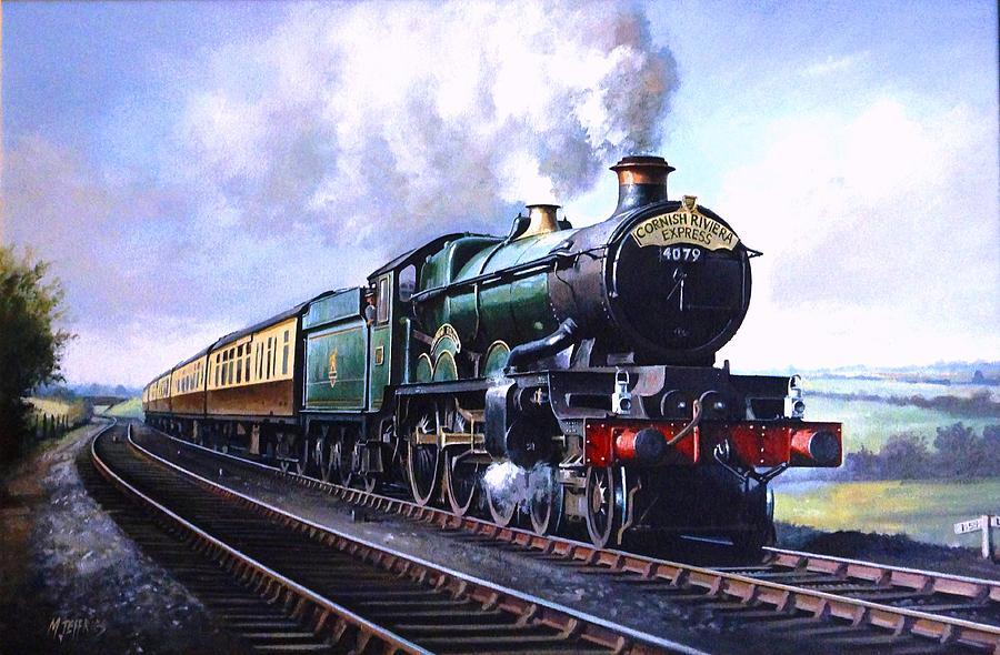 Railway Painting - Cornish Riviera Express. by Mike Jeffries