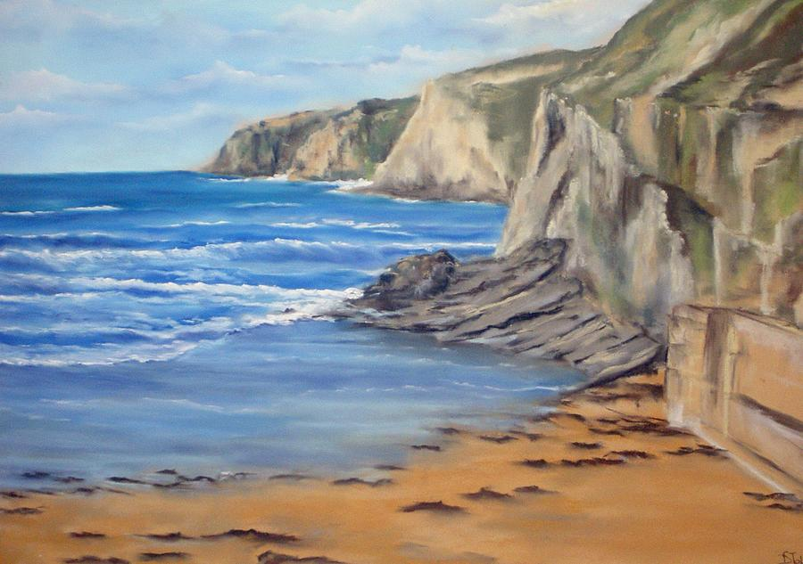 Pastel Painting - Cornwall Watergate Bay by Dick Stolp