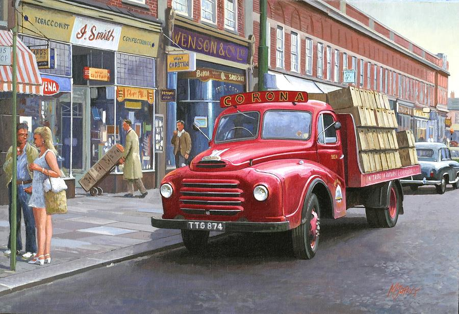 1950s Ford Trucks For Sale >> Corona Drinks Lorry. Painting by Mike Jeffries