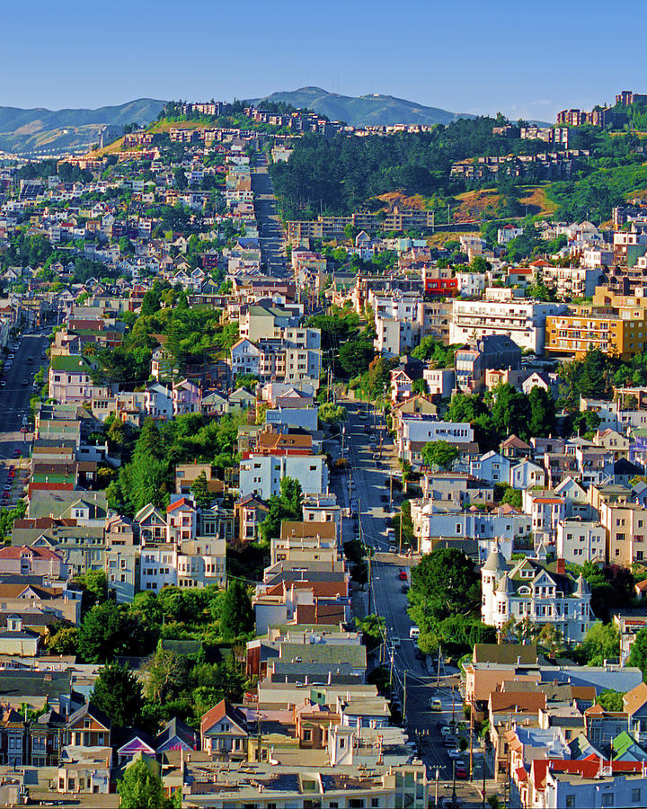 Corona Heights, Eureka Valley Soft Morning Light Cityscape, San Francisco 1990, Diptych 2 Photograph