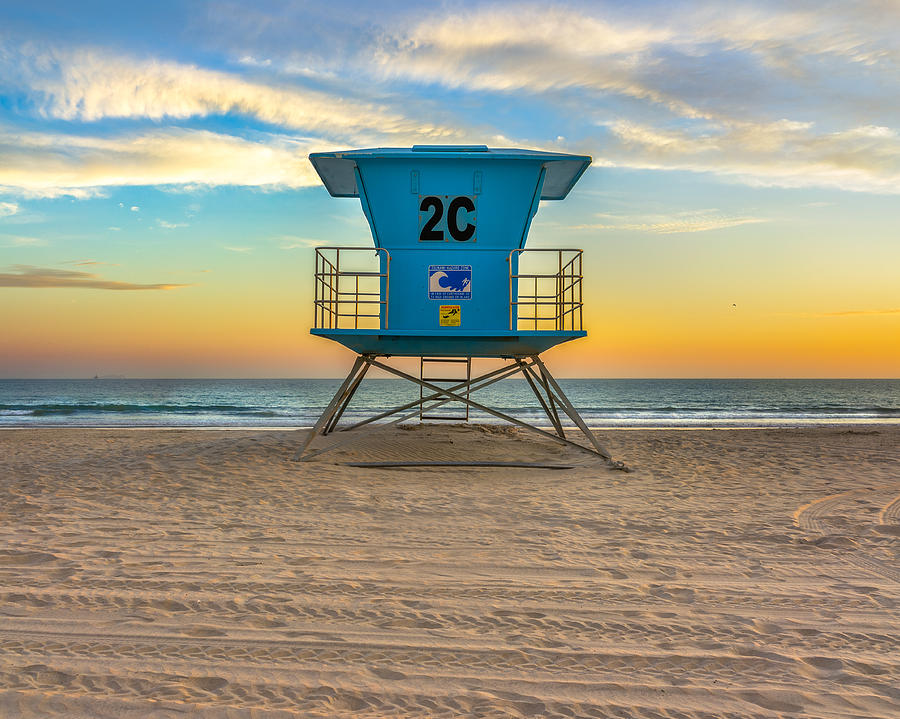 Coronado Beach Lifeguard Tower At Sunset Photograph By