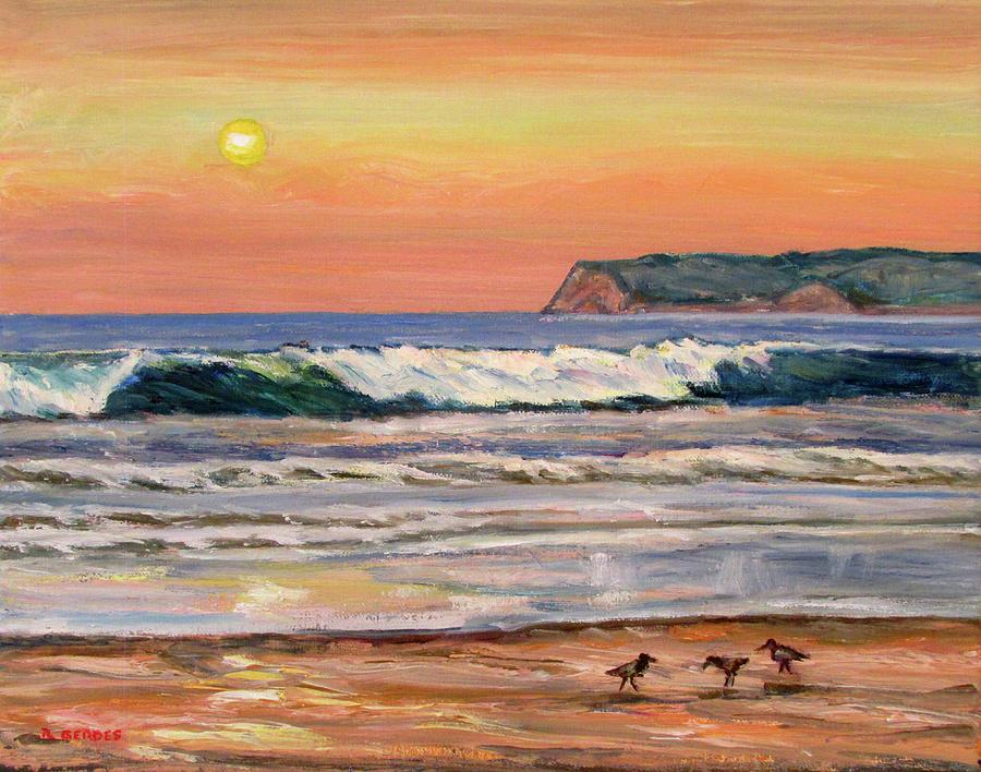 9c794f645b Coronado Beach Sunset Surf Painting by Robert Gerdes