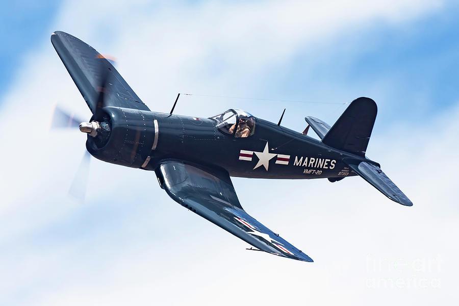 Airplane Photograph - Corsair In Flight by Rick Pisio