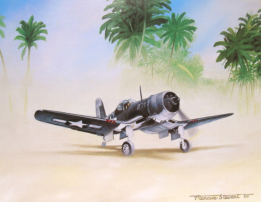 Aviation Painting - Corsair Preflight by Marc Stewart