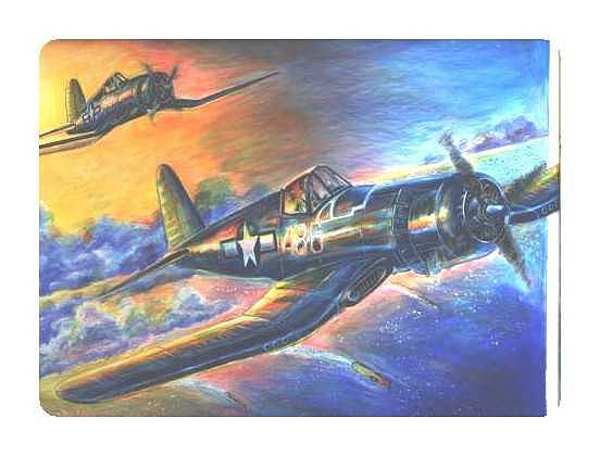 Aviation Drawing - Corsair Sunset Over The Pacific by James Beal