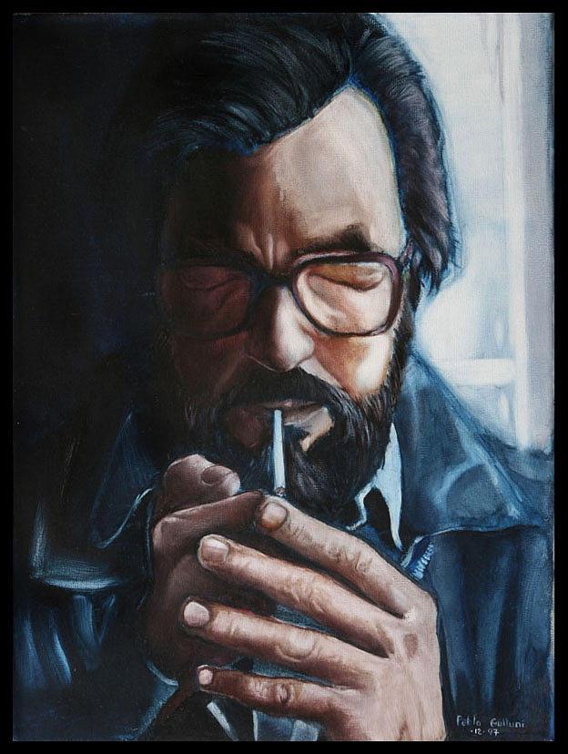 Portrait Painting - Cortazar by Ariel Gulluni