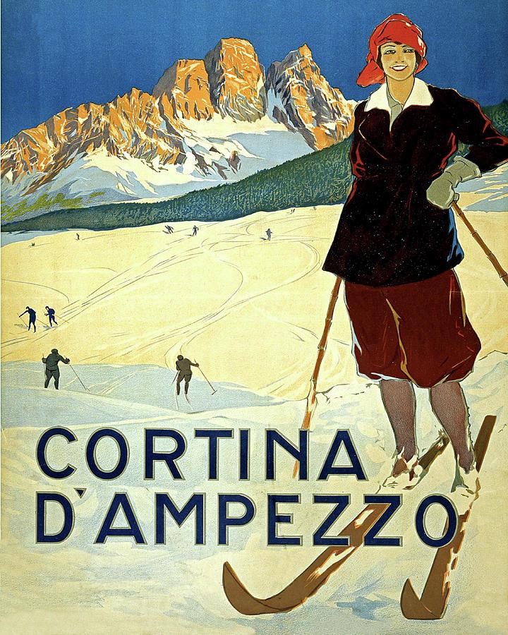 Cortina D'ampezzo Painting - Cortina Dampezzo, Mountains, Italy, Woman On The Ski by Long Shot