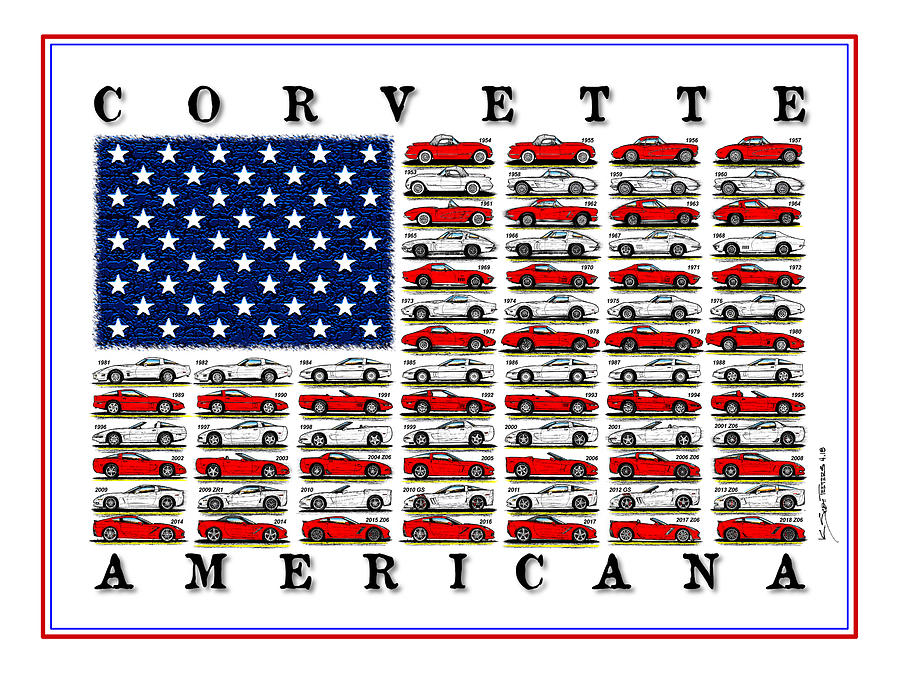 Corvette American Flag by K Scott Teeters