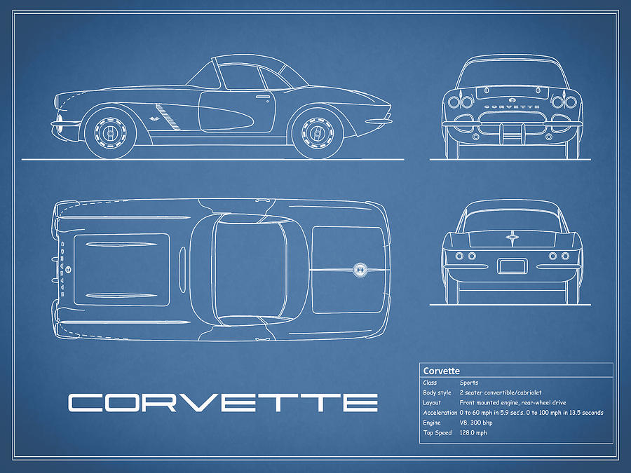 Corvette C1 Blueprint Photograph by Mark Rogan