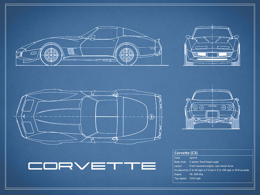Corvette c3 blueprint photograph by mark rogan chevrolet corvette photograph corvette c3 blueprint by mark rogan malvernweather Images