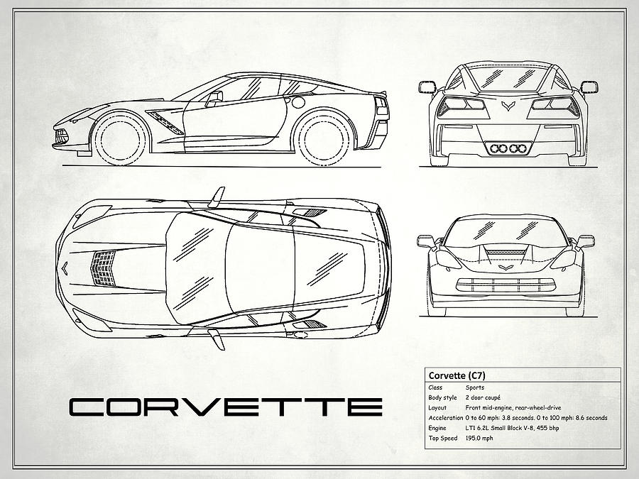 Corvette c7 blueprint in white photograph by mark rogan corvette blueprint photograph corvette c7 blueprint in white by mark rogan malvernweather Gallery