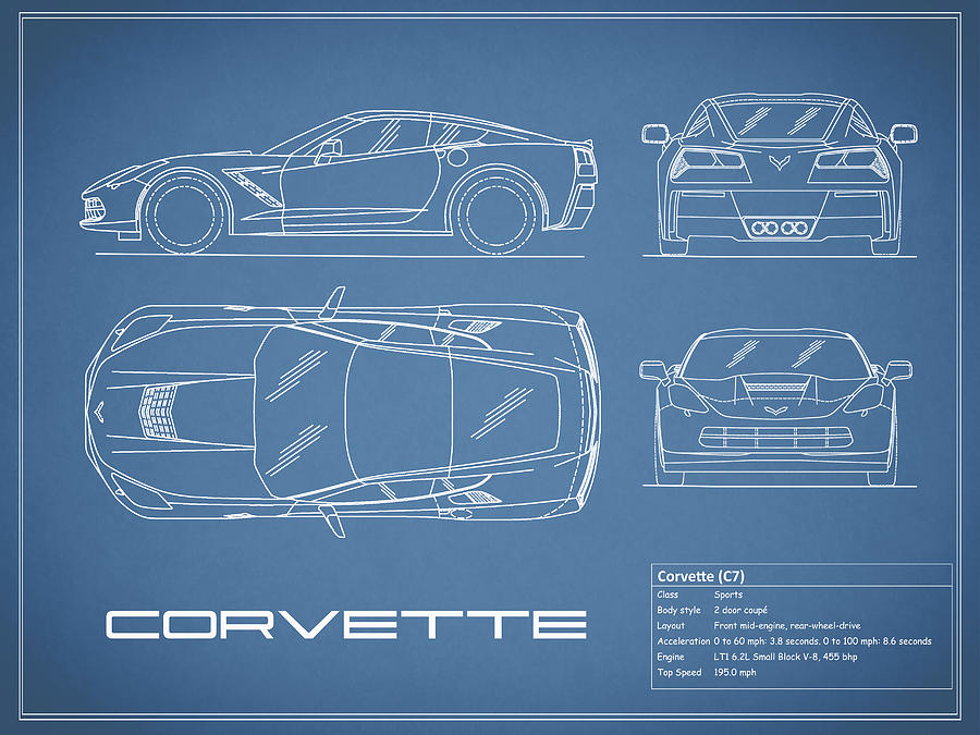 Corvette c7 blueprint photograph by mark rogan corvette blueprint photograph corvette c7 blueprint by mark rogan malvernweather Image collections