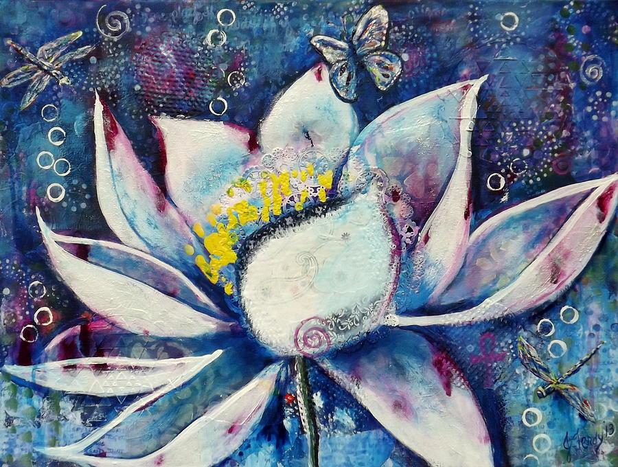 Lotus Flower Painting - Cosmic Lotus by Goddess Rockstar