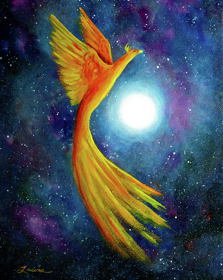 Laura Milnor Iverson Painting - Cosmic Phoenix Rising by Laura Iverson