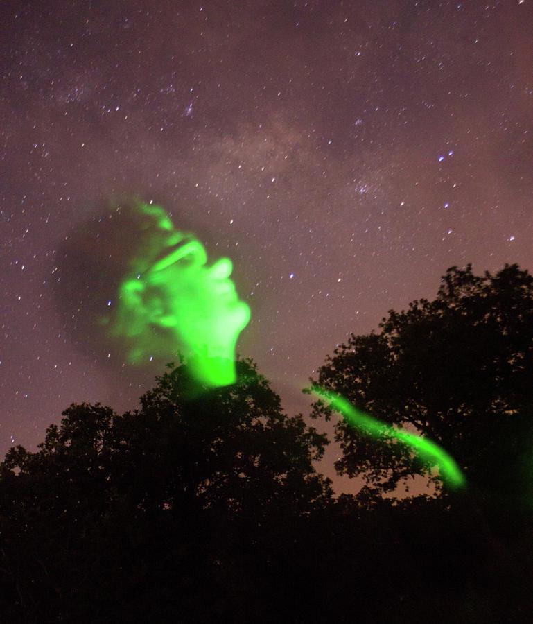 Cosmic Selfie In Green Photograph